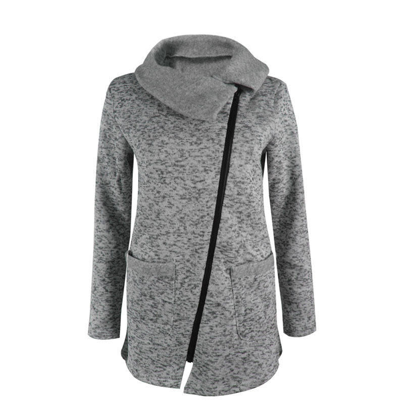 Autumn Design Womens Clothing Long Loose Casual Hoodies Oblique Zipper Jacket Coat Slim Warm Hooded Sweatshirts Plus Size D0576