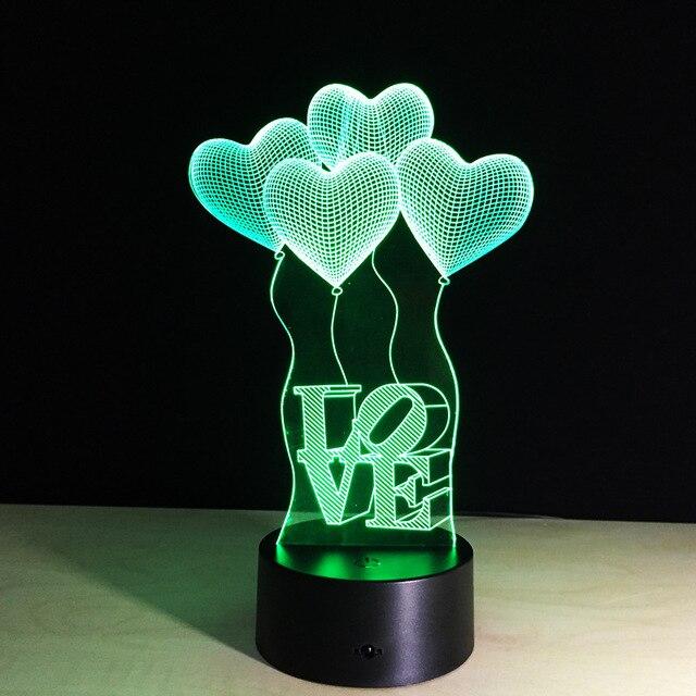 Упаковка из 40 шт. Сердце Любовь рамка Сенсорный экран 3D иллюзия Светодиодная вспышка света игрушка в коробке через МЧС.