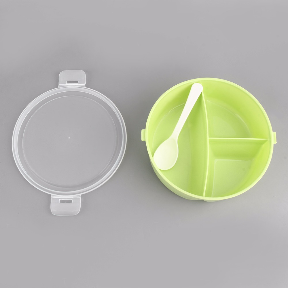 2018 Hot Sale Lovely Solid Color Round Portable Microwave Fresh Lunchbox Picnic Bento Food Container Storage With Fork Set