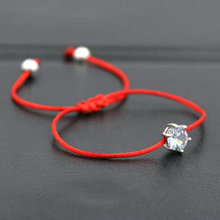 Women's Red Rope Bracelets Set with white Crystals