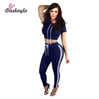 Dasbayla 2016 Autumn 2 Pieces Sets Casual Women Sport Jumpsuits Rompers Ladies Playsuits Stripe Side Bodysuit