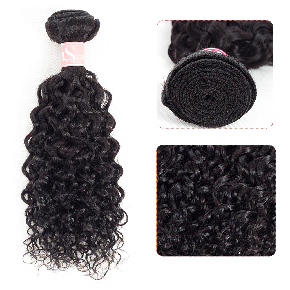 LS Hair Brazilian Remy Human Hair Bundles Water Wave Hair One Only 8-26inchcan Buy 3/4/5 Bundles Natural Black Hair Extensions