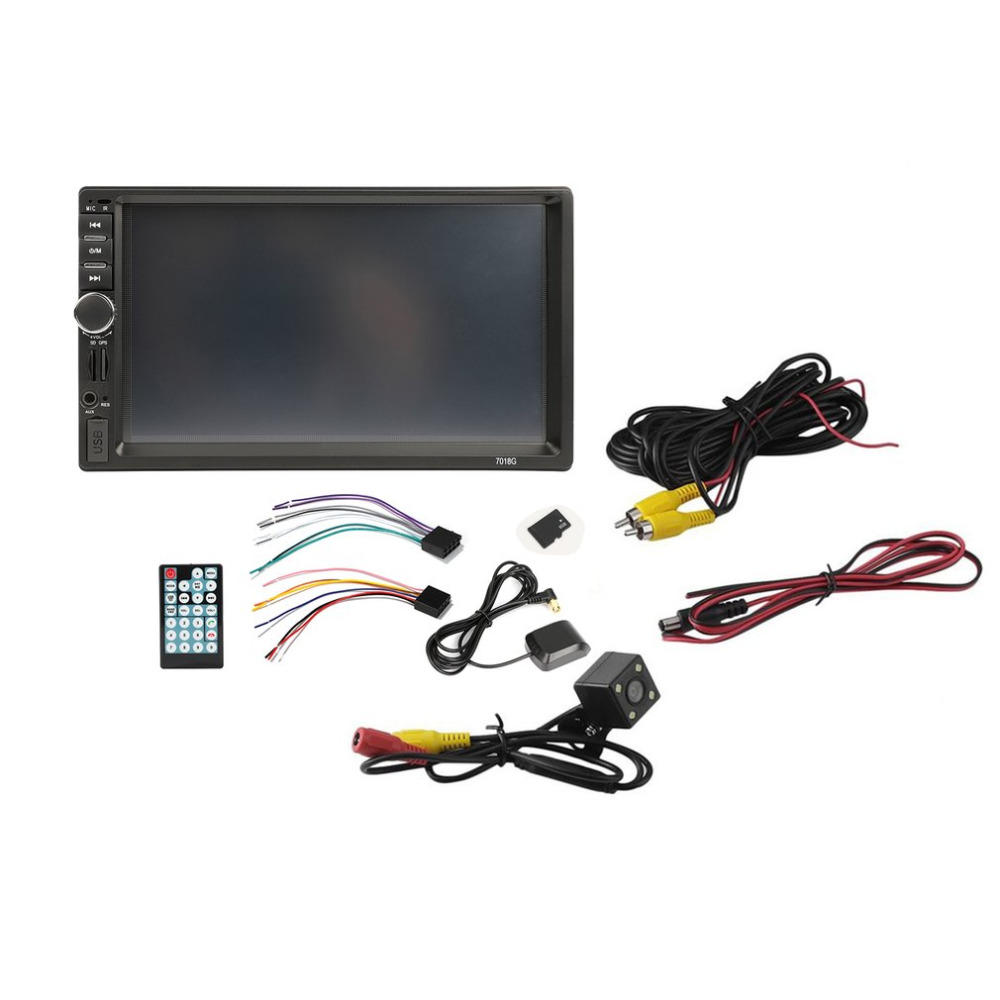 <font><b>2</b></font> <font><b>Din</b></font> 7 inch HD Car MP5 Audio Stereo Player Touch Screen Bluetooth Car FM <font><b>Radio</b></font> Multimedia Player GPS Navigation Support AUX image