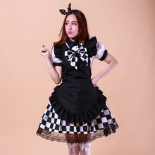 Fantasía Anime Cosplay Traje de Mucama Haiyore! nyaruko-san Negro Blanco Maid Set Incluyendo Top + Skirt + Arco + Delantal