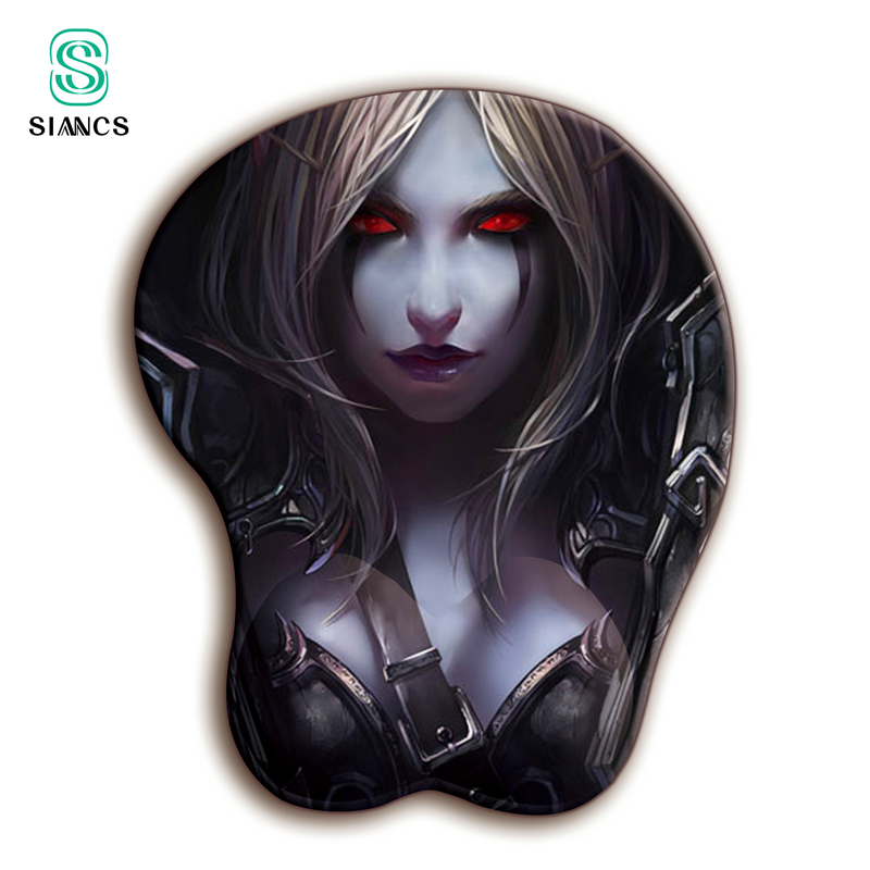 World of Warcraft <font><b>3D</b></font> WOW <font><b>Mouse</b></font> <font><b>pad</b></font> <font><b>Sexy</b></font> Wrist Rest Soft Silica gel Breast Office Desktop decoration Gaming gamer MousePad image