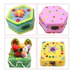 Image 5 - 8 sztuk niepomalowane drewniane ozdoby pudełko do przechowywania biżuterii pamiątka malarstwo rzemiosło artystyczne DIY przypadki