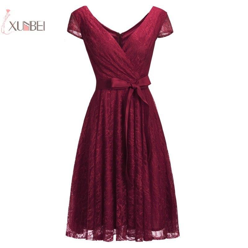 2019 Sexy Elegant Burgundy Red Short Lace Robe Cocktail Dresses Plus Size robe de cocktail
