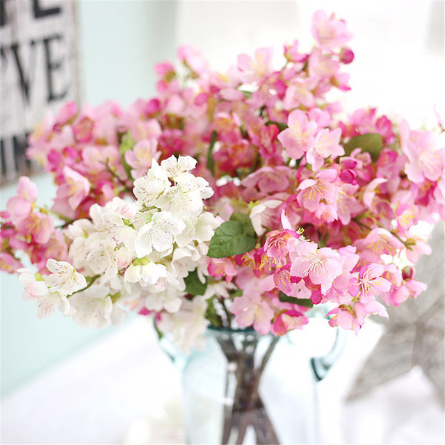 Cherry Blossom Soie Bouquet Real Touch Mariage Décoration Fleurs ...
