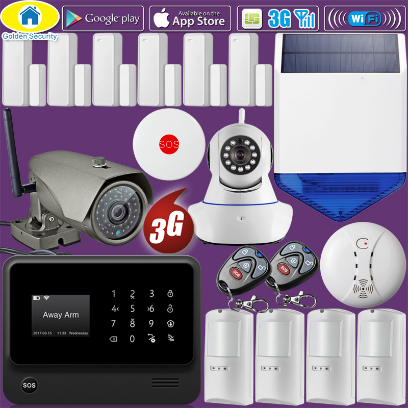 Golden Security DIY G90B WiFi 3G GSM WCDMA Wireless Home Security Alarm System 1080P Camera Pet