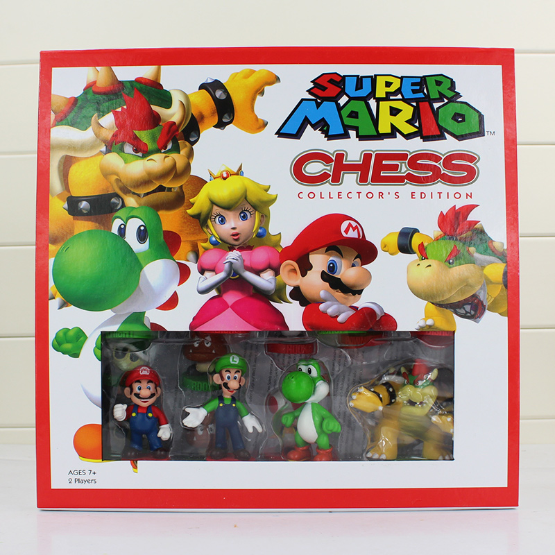 32pcs/lot Puzzle game Super mario Chess PVC Figure Dolll Wonderful gift for Kids Free shipping dayan gem vi cube speed puzzle magic cubes educational game toys gift for children kids grownups