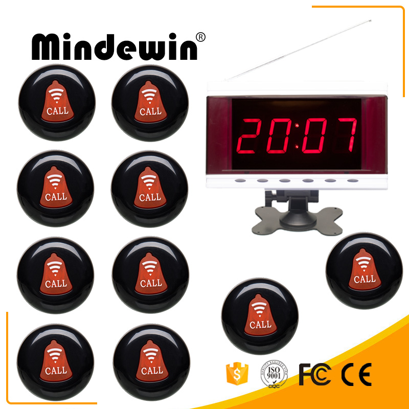 Restaurant 10PCS Wireless Call Button M-K-1, 1PC LED Display M-R-2 Wirless Calling System restaurant wireless table bell system ce passed restaurant made in china good supplier 433 92mhz 2 display 45 call button