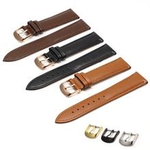 Brown Leather Bracelet With Rose Gold Clasp Bracelet 16mm  18mm 20mm 22mm 24mm For DW Watch Daniel Wellington Band все цены