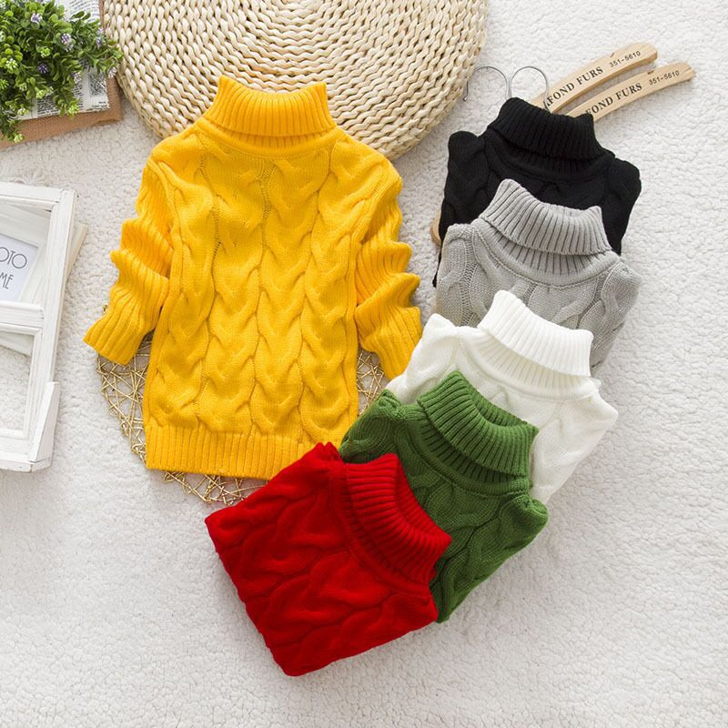 Casual Baby Girls Turtleneck Pollover Sweater Candy Color Kids Boys High Neck Pattern Knitting Crocheted Jumper Warm Clothing