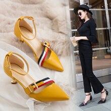 15a8b8037 2019 nova Coreano apontou sapatos boca rasa das mulheres sapatos stiletto  sapatos de salto alto moda