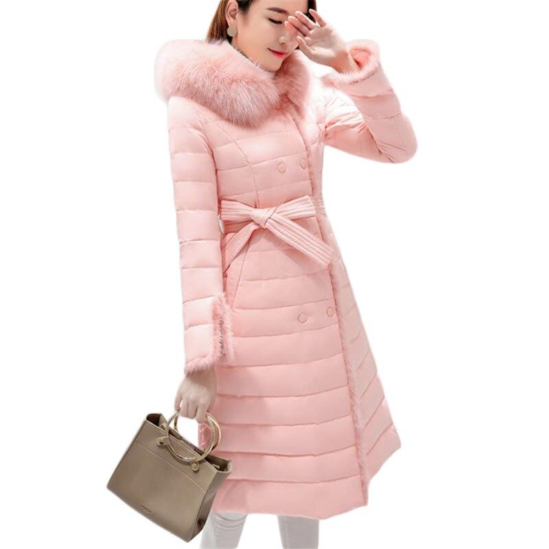 À Qualité Hiver Haute Femmes Light Fourrure black Col pink Le Nouvelle De Rose Grey A1001 Chaud Manteau Bas Coton Capuche Veste Tranchée Long Vers Outwear 8d110vqw