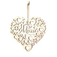 Hollow Love Heart Mom Wooden Laser Cut Hanging Plaque Ornament Crafts Wedding Party Decoration Mother's Day Embellishments