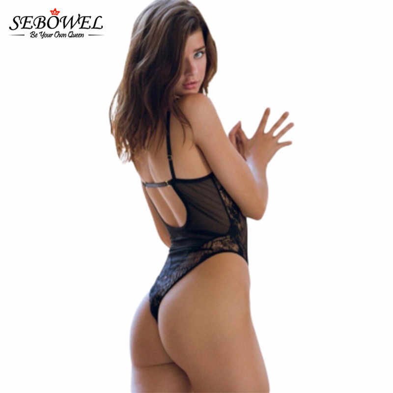 e6be099d0 ... SEBOWE Sexy White Black Lace Teddy Lingerie Camisole Women Transparence  Mesh Bodysuit Scalloped body Jumpsuits ...