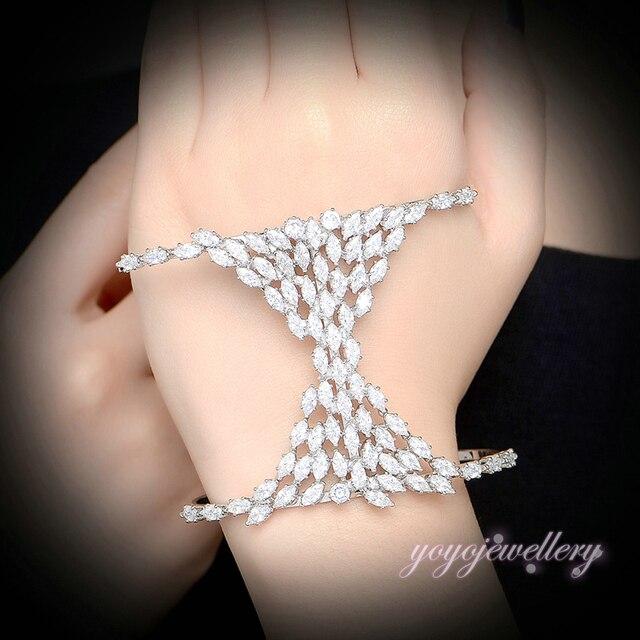 Mytys New Fashion Hand Palm Bangles Cubic Zirconia  White Gold Palm Bracelet Open Adjustable Size R1164