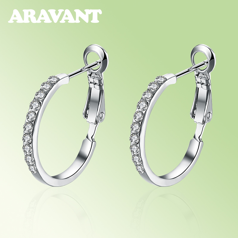 New Fashion Sliver Round Creole Crystal Rhinestone Hoop Earrings For Women Party Jewelry Gifts in Hoop Earrings from Jewelry Accessories