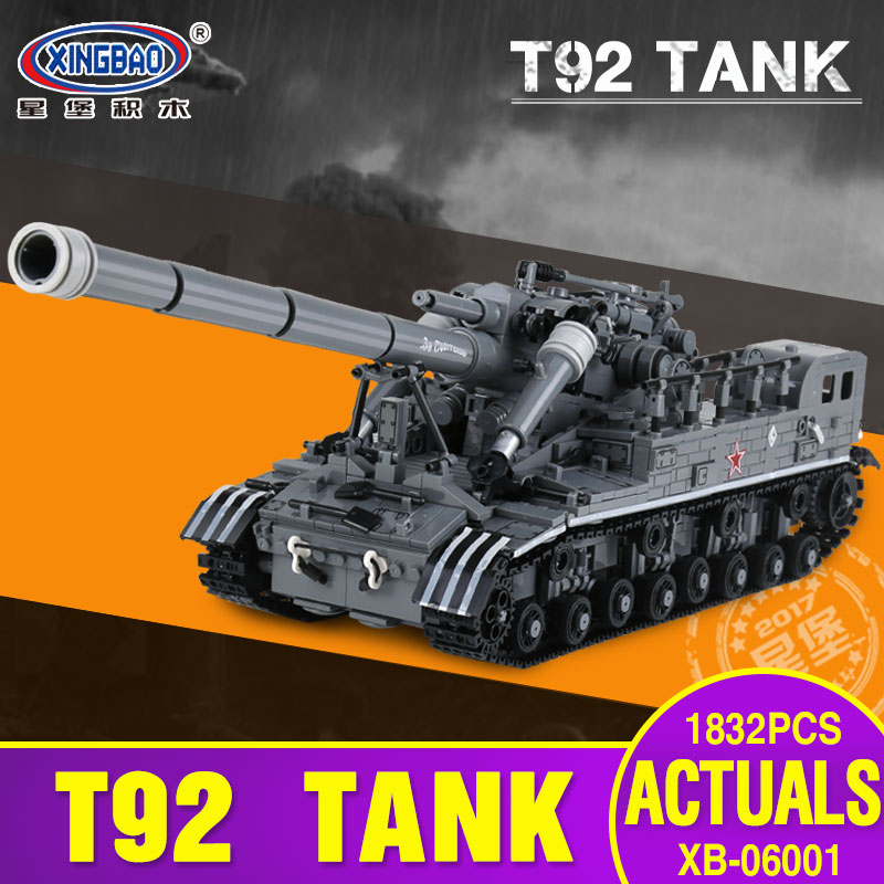 XingBao 06001 Block Creative MOC Military Series The T92 Tank Set Education Building Blocks Bricks Toys Model Christmas Gifts hot modern military t92 tank moc building block model bricks toys collection for adult children gifts