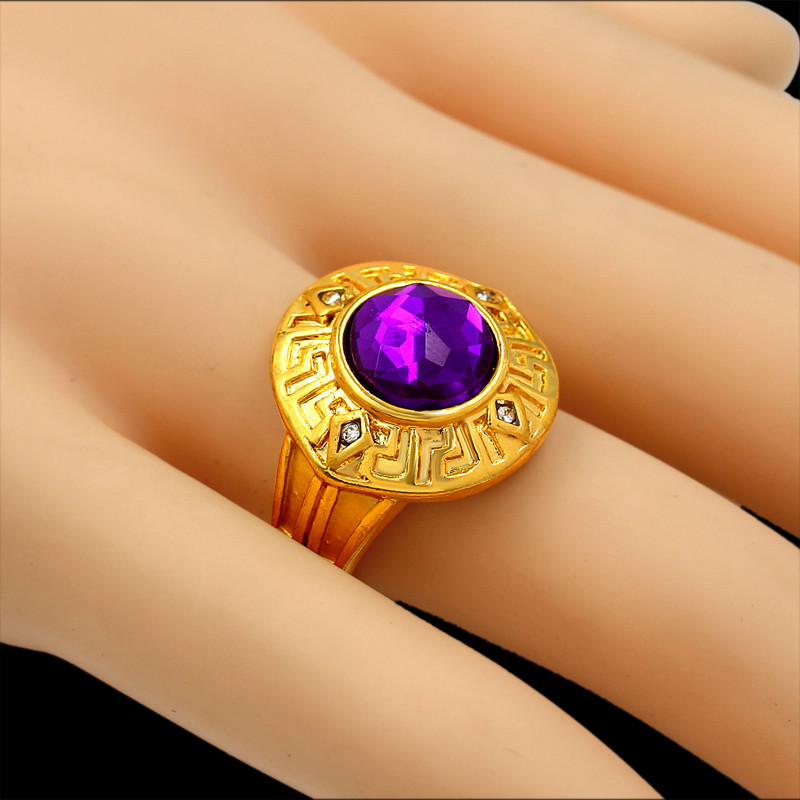 Big Gold Ring Crown Candy Engagement Rings For Women Men New Trendy