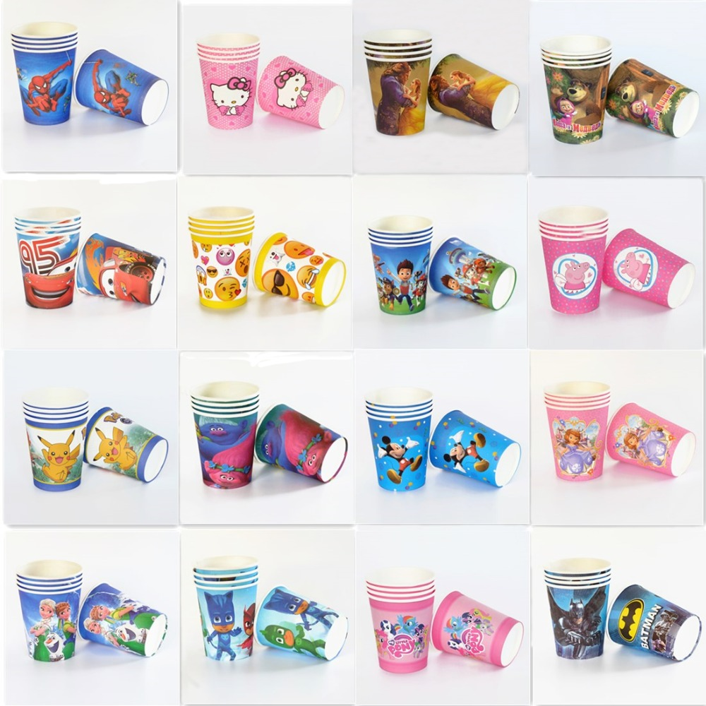 10pcs/lot paper cup Mickey Minnie Trolls Pokemon Go Emoji Unicorn ...