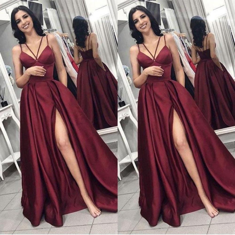 Cheap Long Prom Dress 2019 V Neck Spaghetti Straps Burgundy Backless Sweep Train Formal Wine Red Plus Size Vestidos De Gala