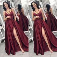 Cheap Long Prom Dress 2019 V Neck Spaghetti Straps Burgundy Backless Sweep Train Formal Wine Red Plus Size vestidos de gala(China)