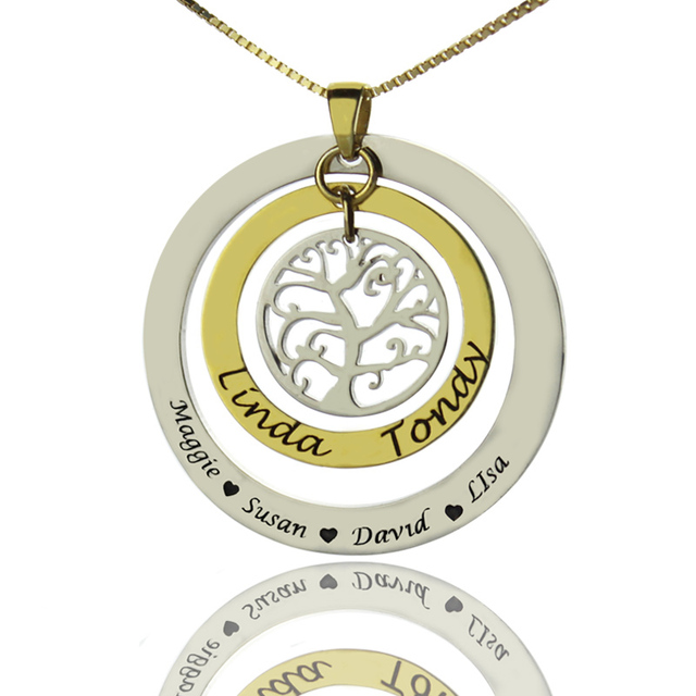 Wholesale Family Tree Necklace Silver 925 Jewelry Circular Necklace
