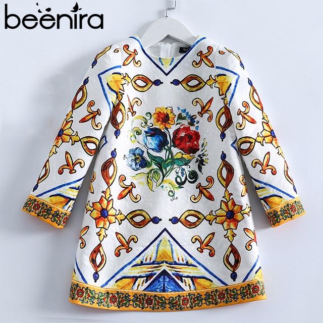 Beenira Girls Dress 2019 New European And American Style Kids Printed Pattern Long-Sleeve Dress For 4-14Y Children Autumn Dress