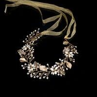 2017 Luxury Fashion Wedding Headband Pearl Crystal Flower Bride Headdress Wedding Jewelery Ribbon Hair Ornament Romantic