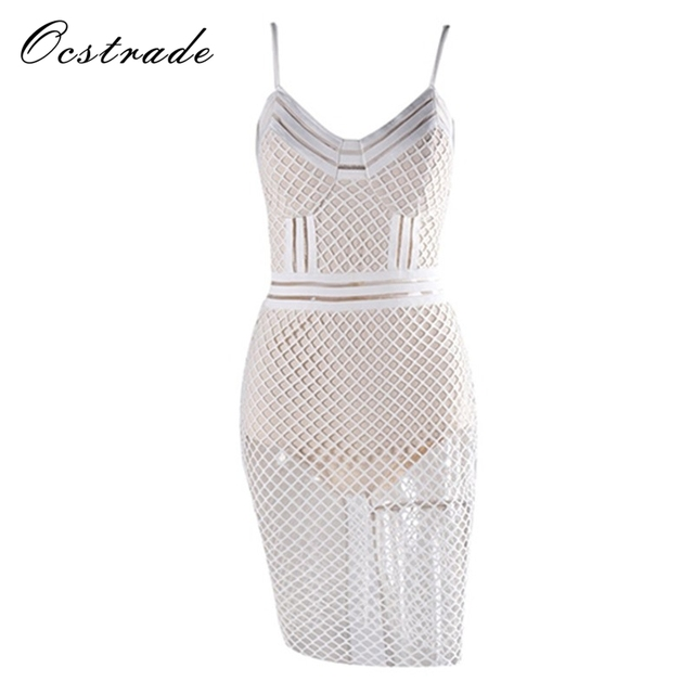 Ocstrade Club Dresses 2017 Banage New Arrival Multi Stitch Crochet Detailed  Sexy White Bandage Dress for Women 4b37ed3cf