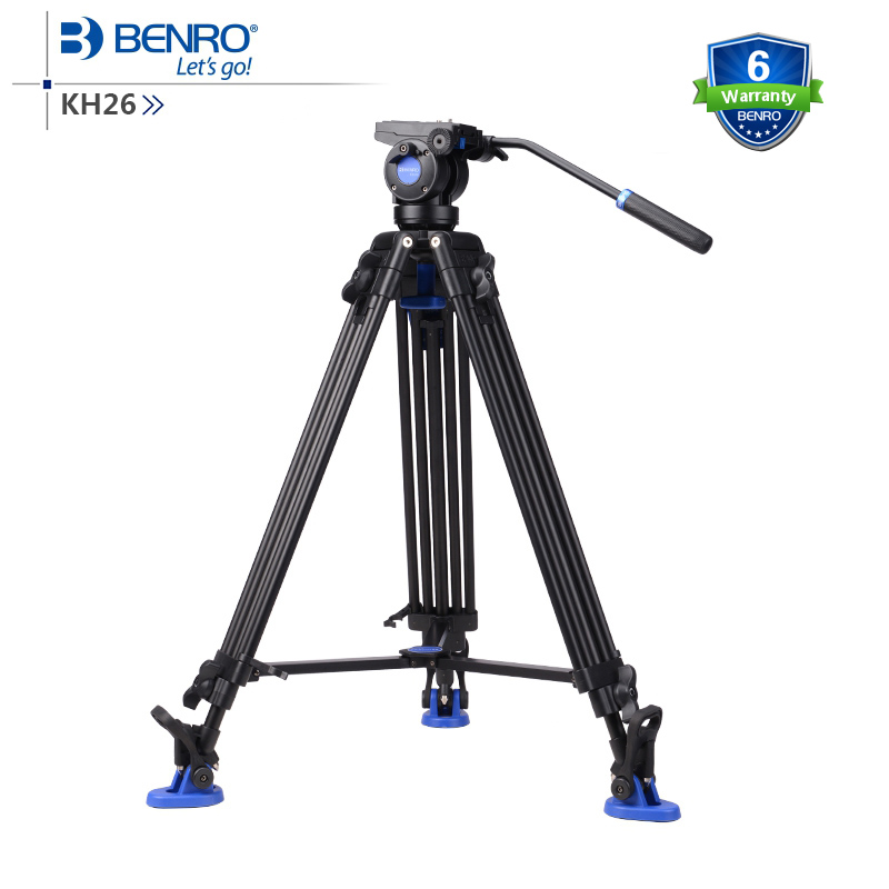 BENRO KH26 KH-26 Video Tripod Professional Aluminum Video Camera Tripod Hydraulic Head Tripod Bag Max Load 6KG DHL Free Shipping dhl gopro benro a550fhd2 urban elf kit aluminum tripod three dimensional head camera tripod