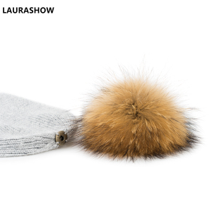 Image 5 - LAURASHOW 2019 Autumn Winter Baby Beanie 15 16cm Real Fur Pompoms Warm Sleep Wool Cap Kids Clothing Accessories Hat