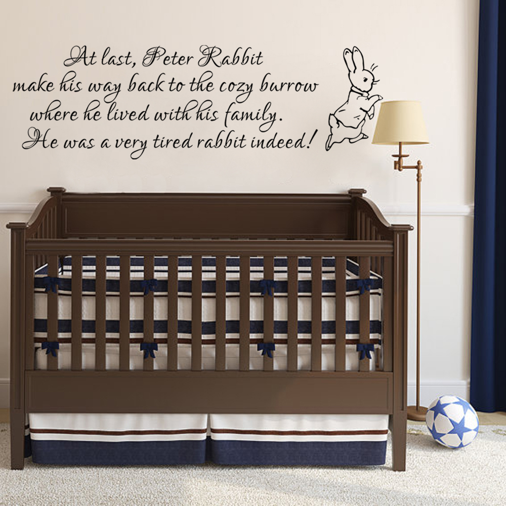 Peter rabbit wall decal baby nursery wall sticker vinyl lettering peter rabbit wall decal baby nursery wall sticker vinyl lettering bedroom wall art quote 356cm x 1168cm in wall stickers from home garden on amipublicfo Images