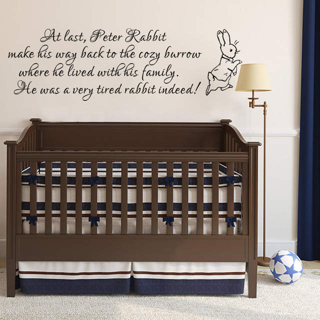 Peter Rabbit Wall Decal Baby Nursery Wall Sticker Vinyl Lettering ...