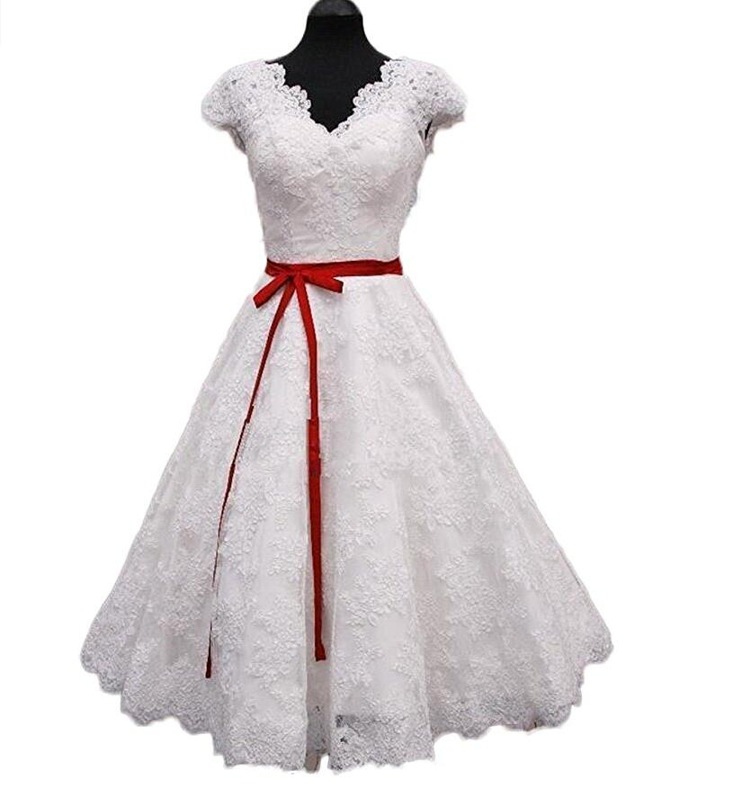 Lovely short wedding dresses lace v neck red belt modest for Wedding dress with red belt