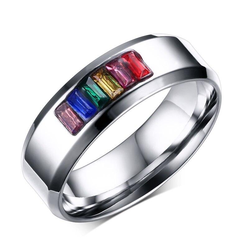 free laser engraving 8mm stainless steel fashion crystal rainbow wedding rings gay lesbian jewelrychina - Rainbow Wedding Rings