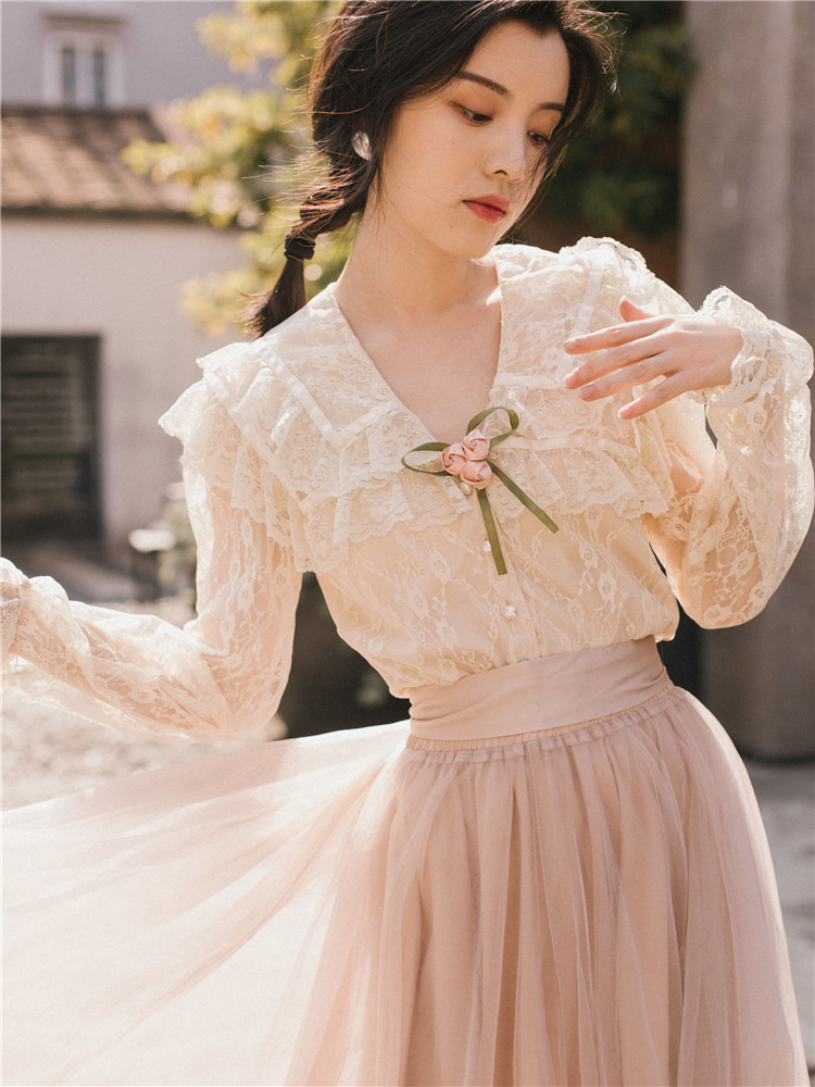 Health 新ファッション女性ツーピースセットサマードレスセットレトロフランスの春ブラウス スカート 本日の割引