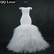 QQ Liebhaber 2020 Neue Weg Von der Schulter Meerjungfrau Hochzeit Kleid Nach Maß Plus Größe Braut Afrikanische Hochzeit Kleid
