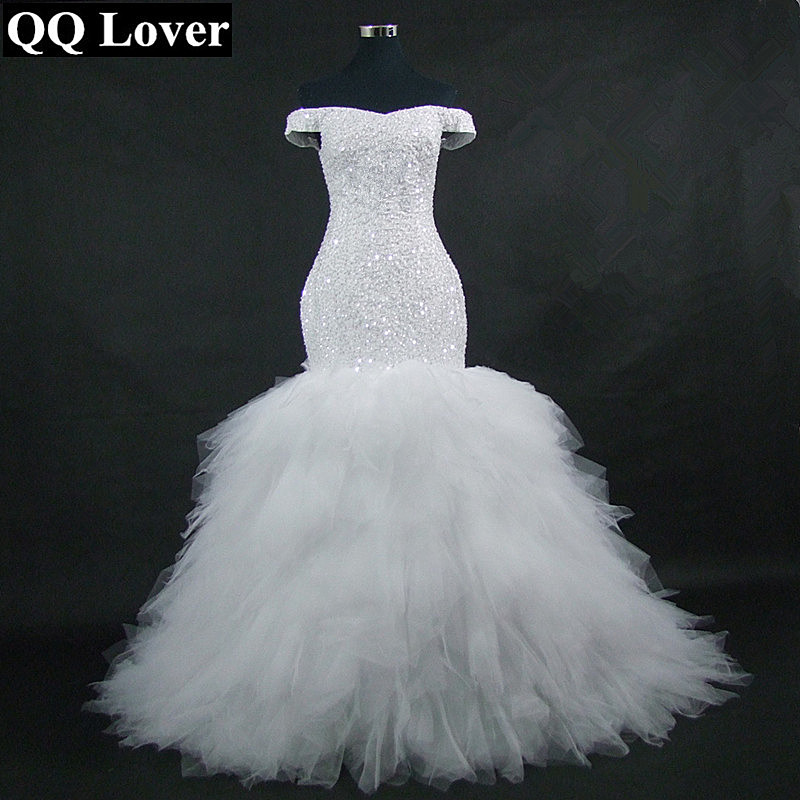 QQ Lover 2019 New Off the Shoulder Mermaid Wedding Dress Custom-Made Plus Size Bride African Wedding Gown