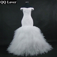 QQ Lover 2019 New Off the Shoulder Mermaid Wedding Dress Custom Made Plus Size Bride African Wedding Gown