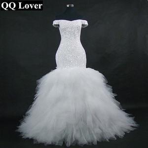 Image 1 - QQ Lover 2020 جديد قبالة الكتف حورية البحر فستان الزفاف مخصص حجم كبير العروس ثوب زفاف أفريقي