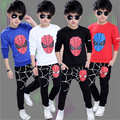 Cartoon cap o-neck child sports twinset Spider Man children's clothing sets male child 100% cotton long-sleeve casual kids set