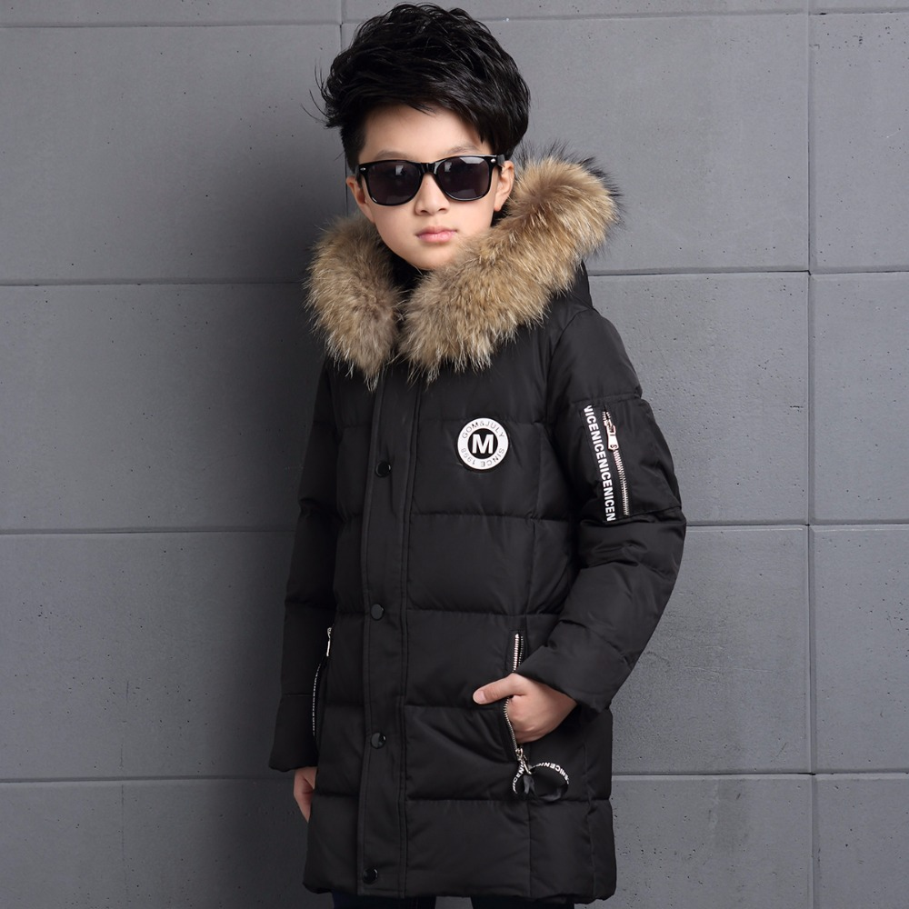 2017 Children Winter Jackets for Boys Fur Hooded White Duck Down Jackets Thick Warm Outerwear with Hooded Long Children's Coat fashion teenage boys down jackets winter thick warm duck down coats for boys children fur collar hooded long sleeve outerwears