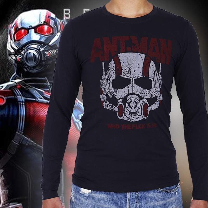 2016 Spring Captain America Civil War Ant Man long sleeved t shirt men's personality printing cosplay O neck Slim cotton t shirt