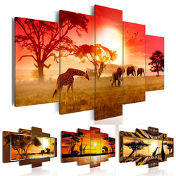 Hot Sell( No Frame )5 Pieces Canvas Print Modern Fashion Wall Art the African Animals Giraffes And Elephant for Home Decoration