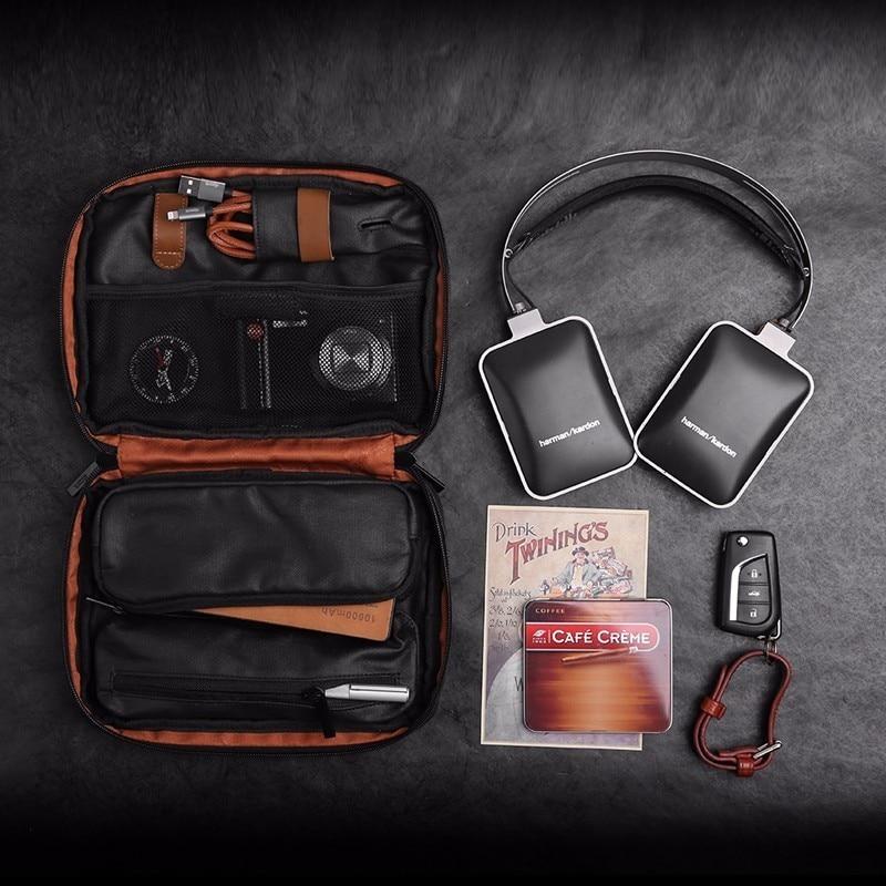 D-park Waterproof Canvas Organizer Laptop Sleeve Case Bag With Handle & Pockets Multi-functional Digital Storage Bag