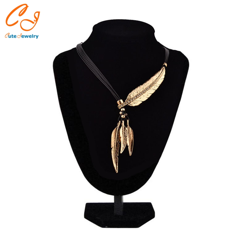 Leaf feather necklace for drop shipping chinese factory csv file order placing available necklace