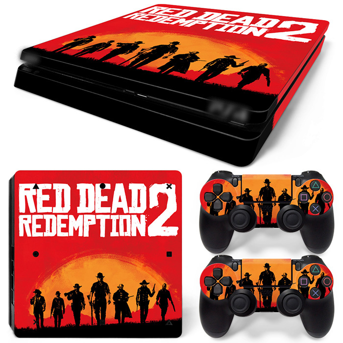 Free Drop Shipping Full Faceplates Skin Console & Controller Decal Stickers for PS4 Slim Console Skin -RED DEAD REDEMPTION2